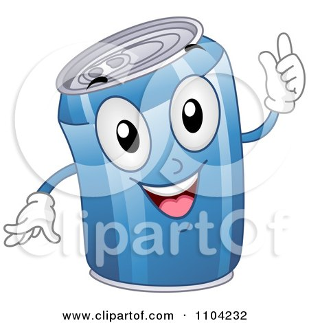 Clipart Happy Blue Soda Can Mascot - Royalty Free Vector Illustration by BNP Design Studio