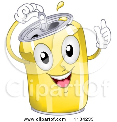 Clipart Happy Yellow Soda Can Popping Its Top - Royalty Free Vector Illustration by BNP Design Studio