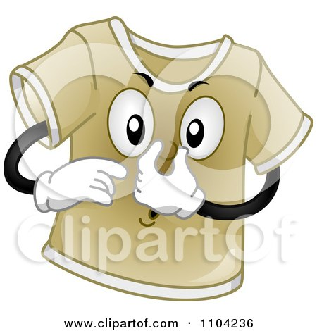 Clipart Stinky Brown T Shirt Plugging His Nose - Royalty Free Vector Illustration by BNP Design Studio