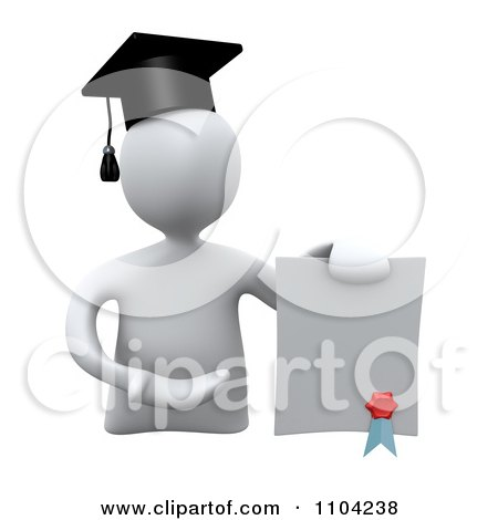 Clipart 3d White Graduate Presenting A Diploma - Royalty Free CGI Illustration by 3poD