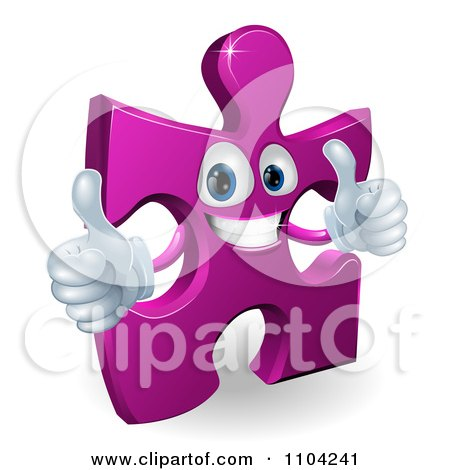 Clipart Happy Purple Jigsaw Puzzle Piece Mascot Holding Two Thumbs Up - Royalty Free Vector Illustration by AtStockIllustration