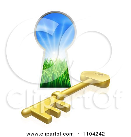 Clipart 3d Gold Skeleton Key And Hole With Sunshine And Grass - Royalty Free Vector Illustration by AtStockIllustration