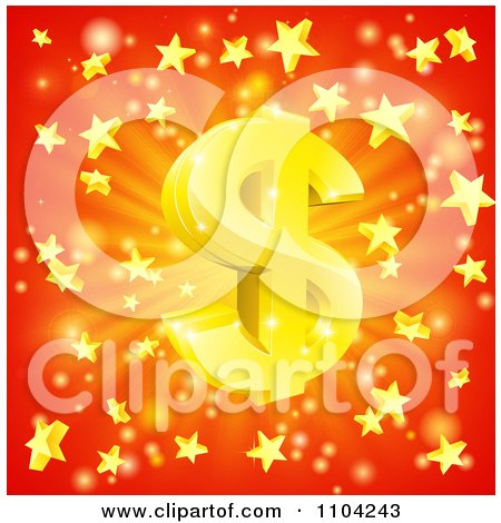 Clipart 3d Sparkling Gold Dollar Symbol And Star Burst Over Red - Royalty Free Vector Illustration by AtStockIllustration