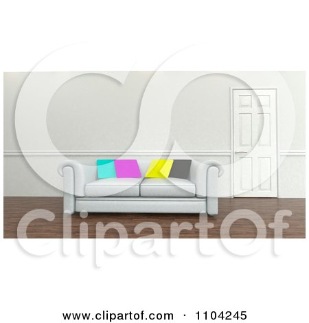 Clipart 3d White Sofa With CMYK Pillows In An Office - Royalty Free CGI Illustration by KJ Pargeter