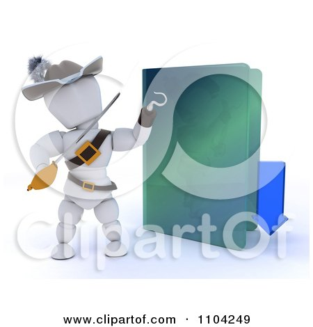Clipart 3d Illegal Download White Character Pirate With An Arrow And Folder - Royalty Free CGI Illustration by KJ Pargeter