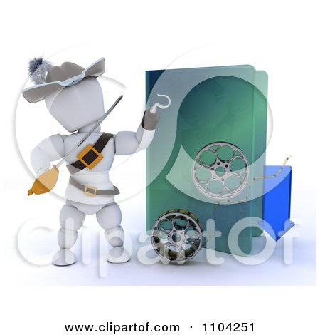 Clipart 3d Illegal Movie Download White Character Pirate With A Folder And Film Reels - Royalty Free CGI Illustration by KJ Pargeter
