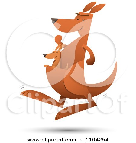 Clipart Baby Joey Kangaroo Riding In Its Mothers Pouch As She Hops - Royalty Free Vector Illustration by Qiun