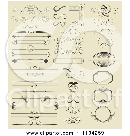 Clipart Ornate Rules Borders Dividers Frames And Design Elements On Beige - Royalty Free Vector Illustration by vectorace