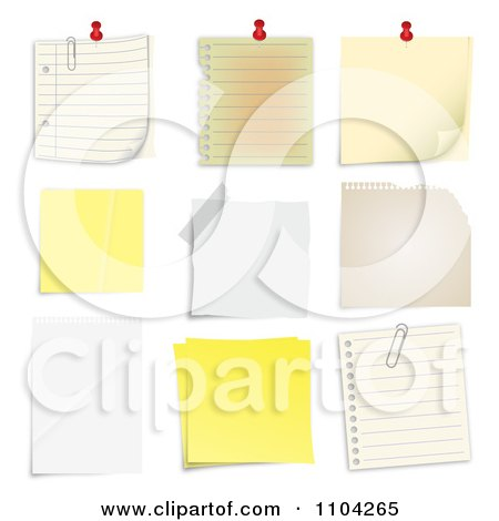 Clipart Pinned Sticky And Taped Notes - Royalty Free Vector Illustration by vectorace