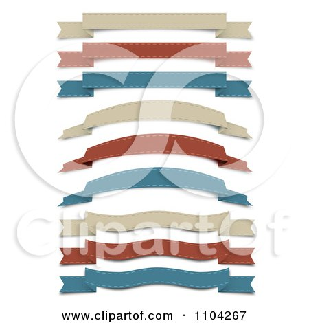 Clipart Retro Tan Red And Blue Cloth Ribbon Banners - Royalty Free Vector Illustration by vectorace