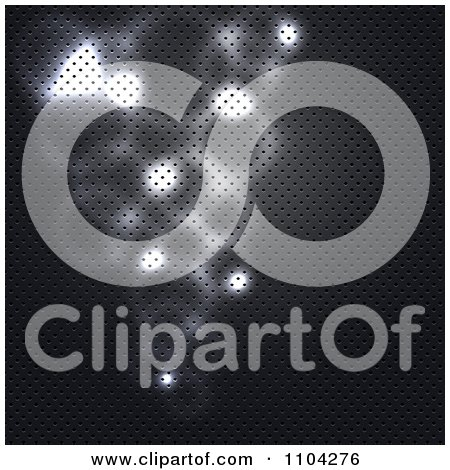 Clipart Glowing Lights On A Perforated Metal Texture - Royalty Free Vector Illustration by vectorace