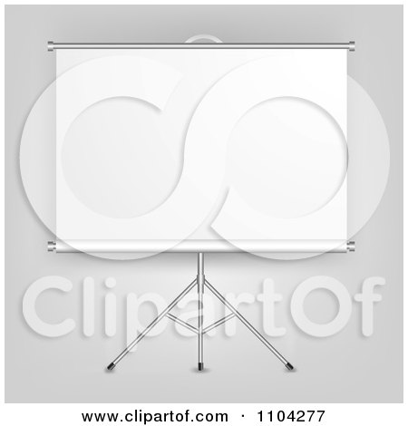 Clipart 3d Roll Down Presentation Screen On A Tripod - Royalty Free Vector Illustration by vectorace