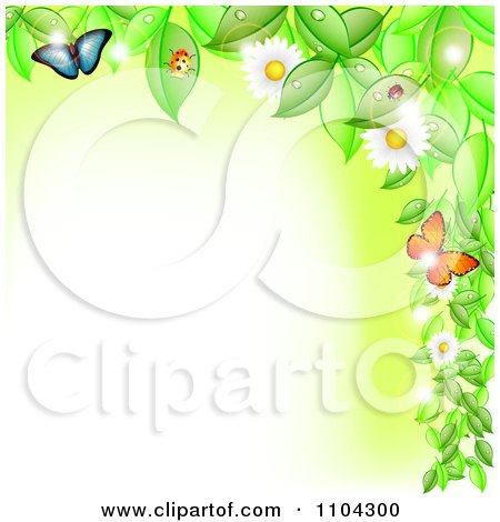 Clipart Border Of Flowering Vines Butterflies And Ladybugs With Copyspace - Royalty Free Vector Illustration by vectorace