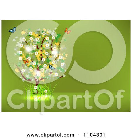 Clipart Blossoming Tree And Spring Butterflies On Green With Copyspace - Royalty Free Vector Illustration by vectorace