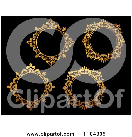 Clipart Ornate Golden Round Frames On Black 2 - Royalty Free Vector Illustration by Vector Tradition SM