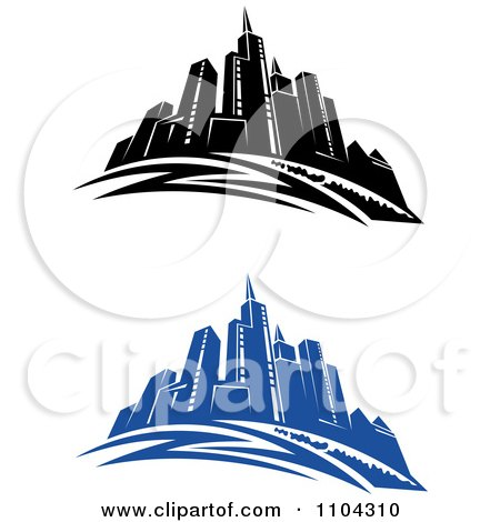 Clipart Black And White And Blue City Skyline - Royalty Free Vector Illustration by Vector Tradition SM