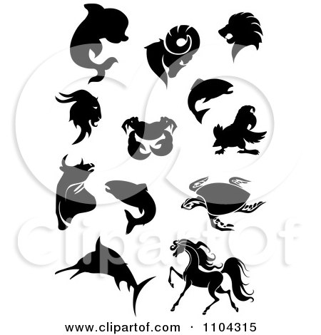 Clipart Black Silhouetted Dolphin Goats Lion Crab Parrot Fish Bull Sea Turtle Marlin And Horse - Royalty Free Vector Illustration by Vector Tradition SM