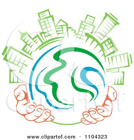 Clipart Pair Of Hands Holding A Globe With Green Skyscrapers On Top 1 - Royalty Free Vector Illustration by Vector Tradition SM