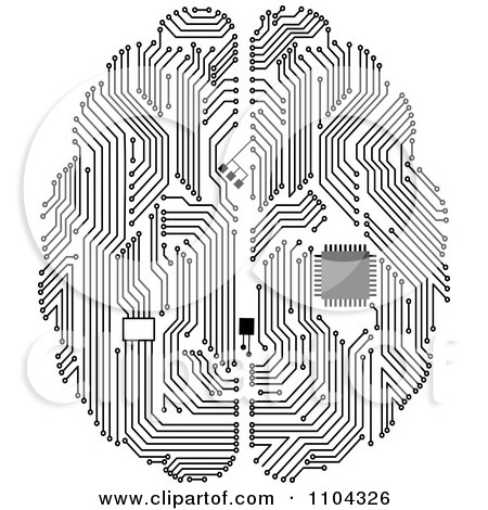 Clipart Black And White Circuit Brain With A Computer Chip - Royalty Free Vector Illustration by Vector Tradition SM
