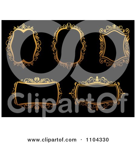 Clipart Ornate Golden Frames On Black - Royalty Free Vector Illustration by Vector Tradition SM