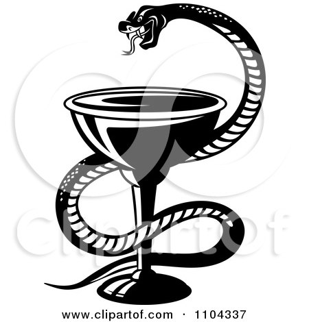 Clipart Black And White Medical Snake And Goblet Caduceus - Royalty Free Vector Illustration by Vector Tradition SM