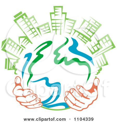 Clipart Pair Of Hands Holding A Globe With Green Skyscrapers On Top 2 - Royalty Free Vector Illustration by Vector Tradition SM