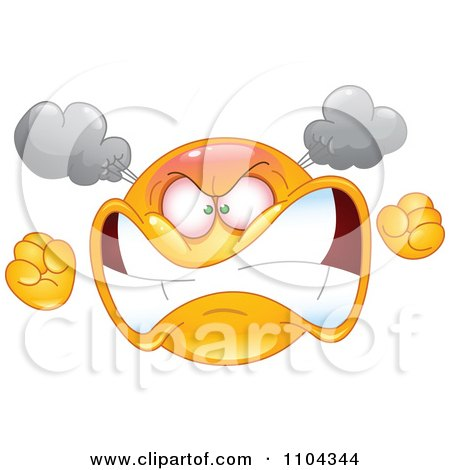 Clipart Furious Yellow Emoticon Smiley Face Turning Red With Steam And Anger - Royalty Free Vector Illustration by yayayoyo