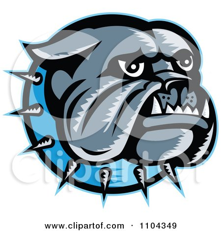 Clipart Retro Woodcut Styled Bulldog Head With A Spiked Blue Collar - Royalty Free Vector Illustration by patrimonio