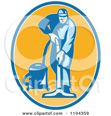 Clipart Retro Male Janitor Using A Vacuum Over An Orange Oval - Royalty Free Vector Illustration by patrimonio