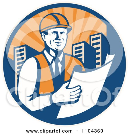 Clipart Happy Retro Construction Engineer Reading Blueprints In A City Circle - Royalty Free Vector Illustration by patrimonio