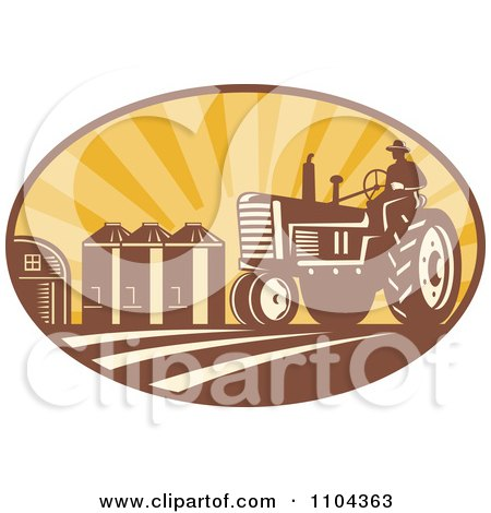 Clipart Retro Farmer Operating A Tracter In A Crop With Silos In The Background - Royalty Free Vector Illustration by patrimonio