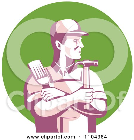 Retro Male Carpenter Holding A Brush And Hammer Over A Green Circle Posters, Art Prints