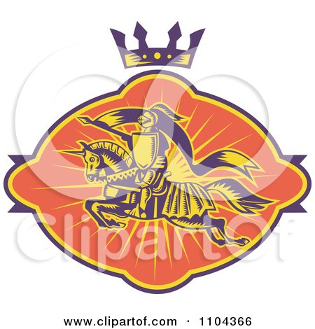 Clipart Retro Horseback Knight With A Spear Under A Crown - Royalty Free Vector Illustration by patrimonio