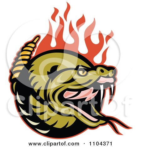 Clipart Angry Rattlesnake With Red Flames - Royalty Free Vector Illustration by patrimonio
