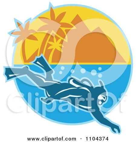 Clipart Scuba Diver Near A Mountainous Tropical Island - Royalty Free Vector Illustration by patrimonio
