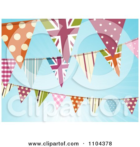 Clipart British And Patterned Bunting Flags Against A Blue Sky With Sunshine - Royalty Free Vector Illustration by elaineitalia
