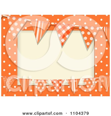 Clipart Patterned Bunting Flags And Polka Dots On Orange With Copyspace - Royalty Free Vector Illustration by elaineitalia