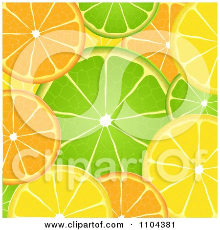 Clipart Orange Lime And Lemon Slice Background - Royalty Free Vector Illustration by elaineitalia