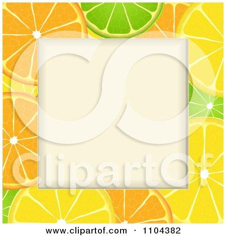 Clipart Orange Lime And Lemon Slice Frame Around Copyspace - Royalty Free Vector Illustration by elaineitalia