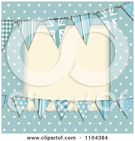 Clipart Patterned Bunting Flags And Polka Dots On Blue With Copyspace - Royalty Free Vector Illustration by elaineitalia