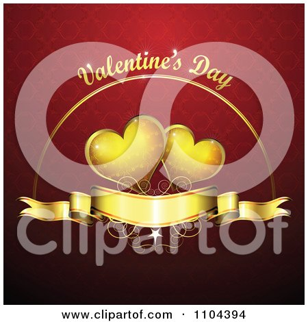 Clipart Romantic Red Heart Background With Valentines Day Text 2 - Royalty Free Vector Illustration by merlinul