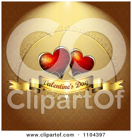 Clipart Romantic Golden Heart Background With Valentines Day Text 4 - Royalty Free Vector Illustration by merlinul