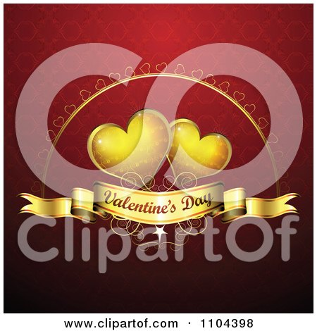 Clipart Romantic Red Heart Background With Valentines Day Text 5 - Royalty Free Vector Illustration by merlinul