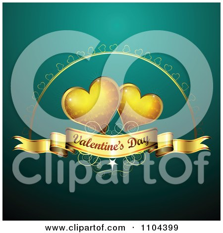 Clipart Romantic Turquoise Heart Background With Valentines Day Text 4 - Royalty Free Vector Illustration by merlinul