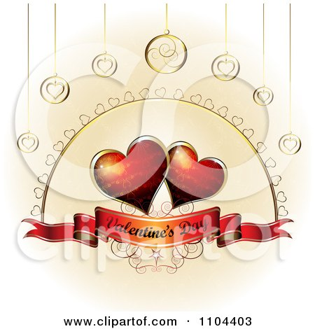 Clipart Romantic Heart Background With Valentines Day Text 5 - Royalty Free Vector Illustration by merlinul