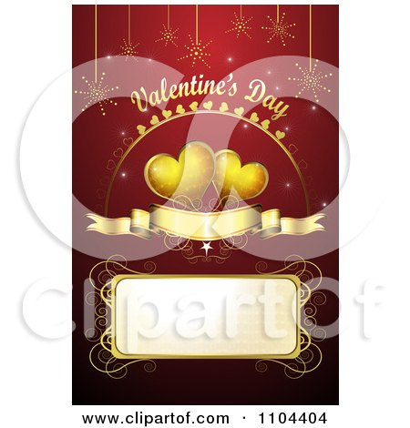 Clipart Romantic Red Heart Background With Valentines Day Text 3 - Royalty Free Vector Illustration by merlinul