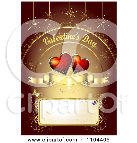 Clipart Romantic Heart Background With Valentines Day Text 2 - Royalty Free Vector Illustration by merlinul