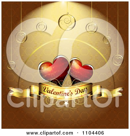 Clipart Romantic Golden Heart Background With Valentines Day Text 5 - Royalty Free Vector Illustration by merlinul