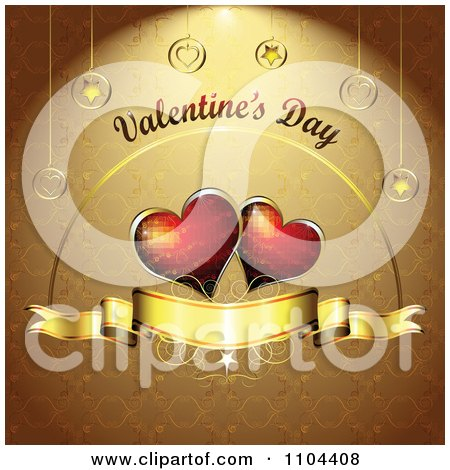 Clipart Romantic Golden Heart Background With Valentines Day Text 3 - Royalty Free Vector Illustration by merlinul