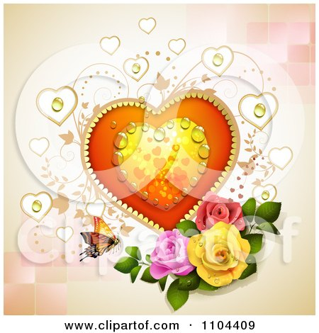 Clipart Dewy Heart With Vines Roses And A Butterfly Over Tiles - Royalty Free Vector Illustration by merlinul